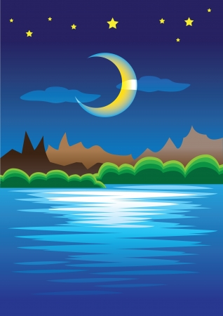 Night view in the mountain area  With moonlight reflected on the water on the lake  Vector