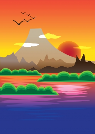 Picturesque Sunset over the mountain range Stock Vector - 14487560