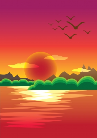 Picturesque Sunset over the mountain range Stock Vector - 14487559