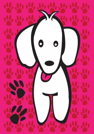 dog paw: A Cute white puppy with dog paw prints  Illustration