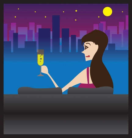 moody sky: Woman relaxing with a glass of champagne in her comfortable sofa