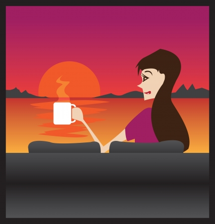 Woman relaxing with a hot drink and enjoying sunrise on her sofa  Stock Vector - 14487547
