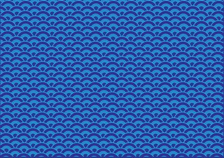 overlapped: Oriental curve wave blue background