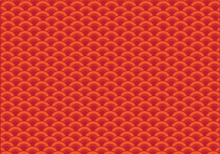 Oriental curve wave red background  Vector