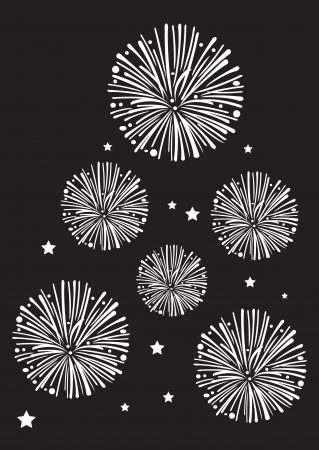 Black and white fireworks in vector  Illustration
