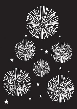 silvester: Black and white fireworks in vector  Illustration