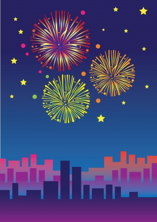 Big fireworks over the skyline of the city  Vector