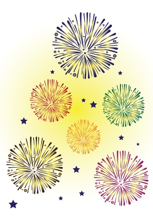 fireworks on white background: Big Colorful fireworks in vector