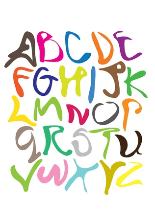 catroon: Cartoon styled alphabet font with different colors Illustration
