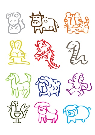 A vector illustration of chinese zodiac signs Stock Illustratie