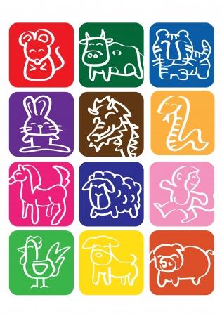 Une illustration de vecteur des signes du zodiaque chinois