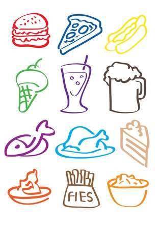 12 vector drawn illustration icon for food  Vector