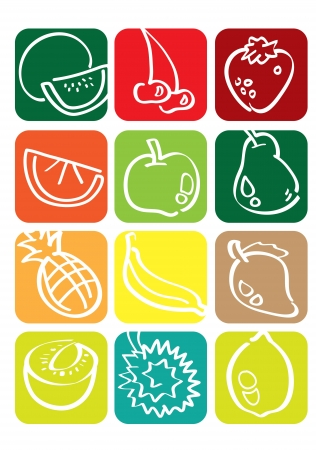 Vector icon graphic of fruits