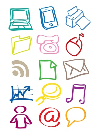 High quality office icons in different colors Stock Vector - 14643972