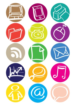email contact: High quality office icons in different colors Illustration