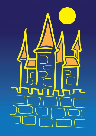 Vector illustration of a castle under the moonlight Stock Vector - 14643966