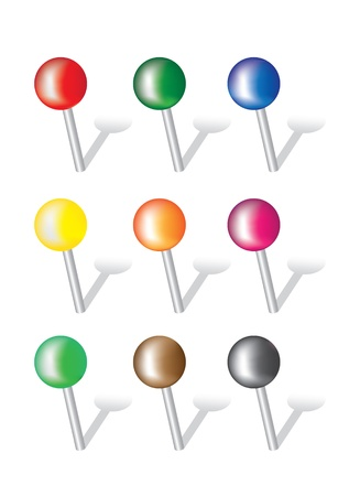 thumb tack: Collection of various vector pushpins on white background   Illustration