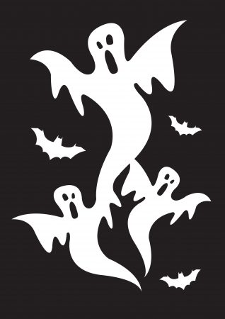Collection set of halloween ghosts with bats Stock Vector - 14643954