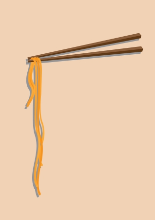 Chinese noodles with chopsticks against a clean background  Vector