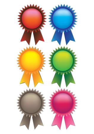 A set of 6 illustrate prize ribbons with spaces for text