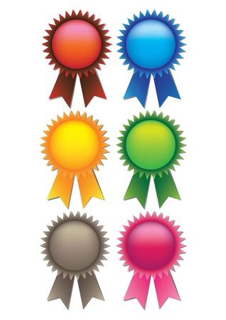 trophy award: Un conjunto de 6 ilustran cintas de los premios con los espacios para el texto