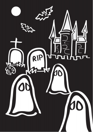 illustration of different Halloween symbols in black and white Stock Vector - 14678349