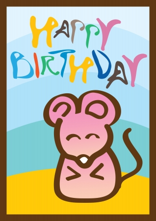 Happy birthday card with a cute little mouse  Ideal for children  Vector