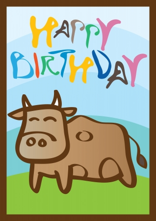 Happy birthday card with a cute little cow  Ideal for children  Vector