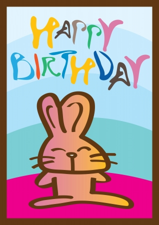 Happy birthday card with a cute little rabbit  Ideal for children Stock Vector - 14752157