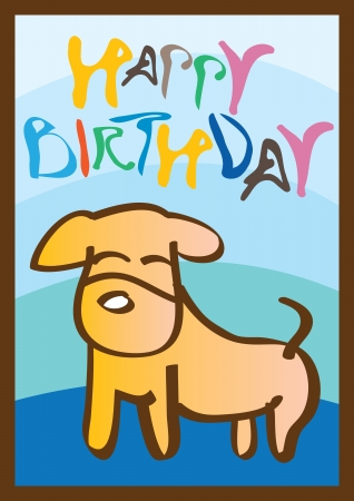 Happy birthday card with a cute little dog  Ideal for children  Vector