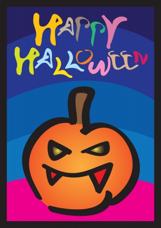 Happy Halloween Card with child-like illustration of a smiling pumpkin  Vector