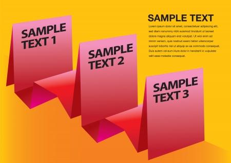 Paper folding progress options with orange background layout. Vector