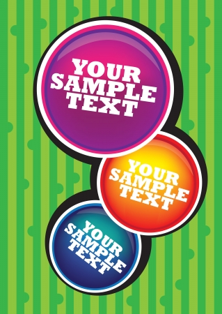 Your sample text in colored circles  3 circles in green background  Vector
