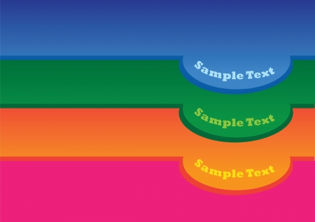 Vector illustration of 3 colors labels in levels  Vector