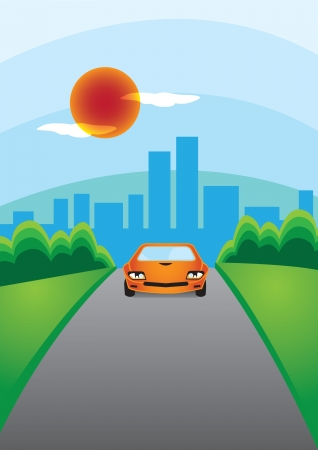 illustration of a car driving out of the city   Vector