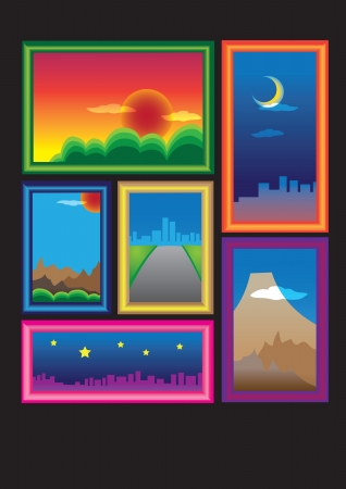 Colorful picture frames with natural photographs Vector