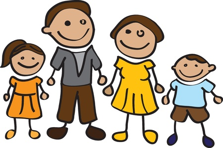 bonhomme allumette: Famille heureuse de bande dessin�e Stickman