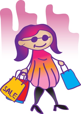 illustration fashion girl shopping Stock Vector - 14877922