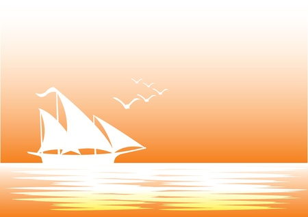 illustration of a silhouette sailing boat with birds flying  Vector