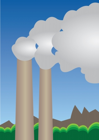 Illustration of factory Air pollution  Vector