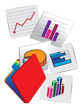 illustration of papers with picture graphics of stock charts on the wall  Stock Vector - 14878623