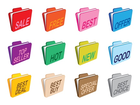 A set of folders with selling business information  Vector