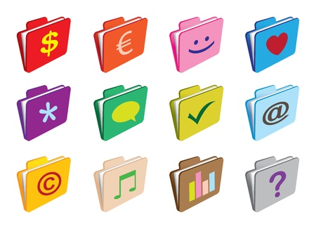A set of folders with selling business icons Vector