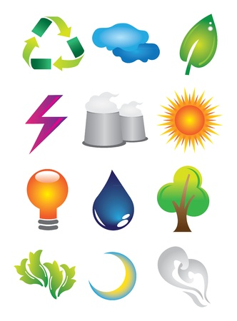 water conservation: A set of 2D Environmental Conservation Icons Buttons