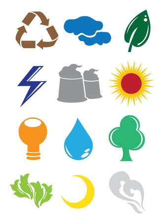 A set of 2D Environmental Conservation Icons Buttons