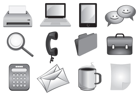 Business and office icons set in grey colors Vector