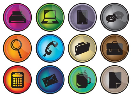 Business and office icons set in different colors Stock Vector - 14878792