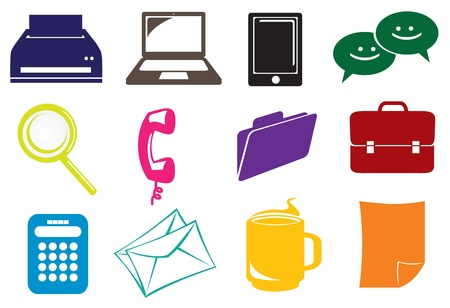 Business and office icons set in different colors Vector