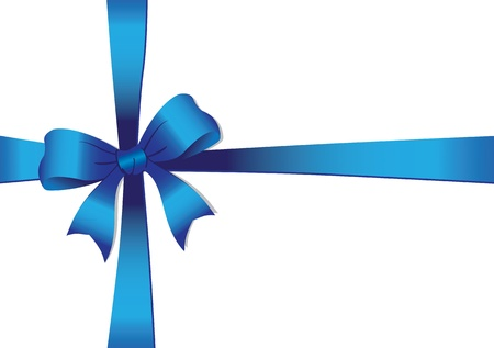 illustration of a Blue bow isolated on white   Vettoriali