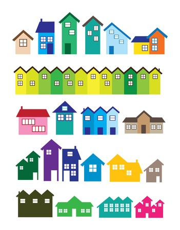 residential neighborhood: A set of House illustrations  Real estate